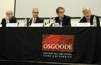 From left, Professor Kent Roach of the University of Toronto; Raymond Boisvert, former assistant director, Intelligence, CSIS; Professor David Cole of Georgetown University; Ron Atkey, adjunct professor at Osgoode and first chair of the Security Intelligence Review Committee (1985-1989)