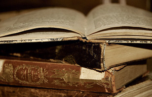 A photo of old books