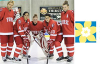 York female hockey player and the Candian Cancer Society logo