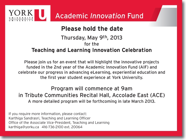 Invitation to a Teaching and Learning celebration