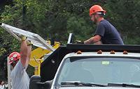 worker in a truck