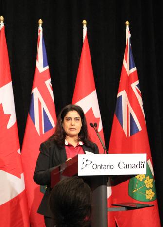 Sunitha Kshatriya at government's Ontario Bridge Training Program funding announcement