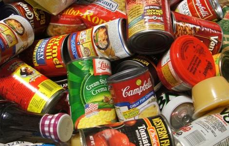 Cans of non-perishable food