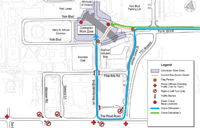 Map of the area where two tower cranes will be installed.