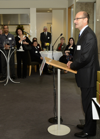 Gary Brewer speaking at the reception