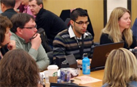 Paricipants talking at the ABEL leadership summit