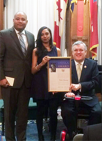 Noise for Social Change mentor Talisha Ramsaroop, a fourth-year Social Work student in the Faculty of Liberal Arts & Professional Studies, is presented with the Lincoln M. Alexander Award for her work as a mentor for students