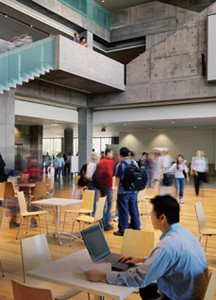 Students in the atrium at the Schulich School of Business