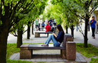 image of a student sitting on a bench