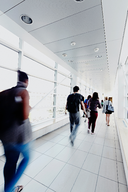 Students and faculty walking in the Technology enhanced learning building at York U
