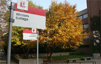 Winters College entrance and sign