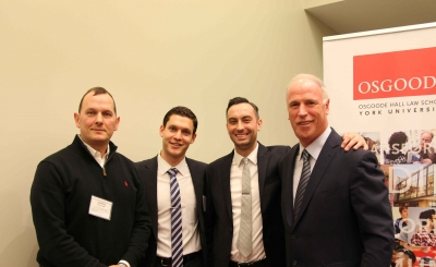 Pictured from left: Chris Taylor, Jonathan Sherman and Daniel Mowat-Rose (Entertainment and Sports Law Association co-presidents), and Don Meehan.