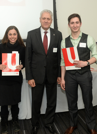 York U President with undergrad scholarship recipients