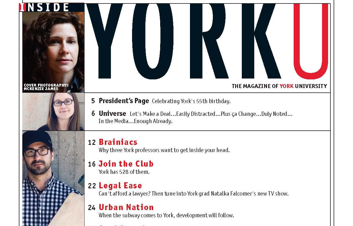 YorkU Spring 2014 issue table of contents