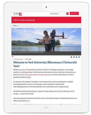responsive design website viewed on a tablet