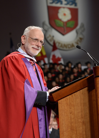 CBC producer Bernard Lucht addresses graduands at spring convocation ceremonies