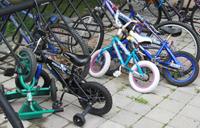 Bicycles in bike rack