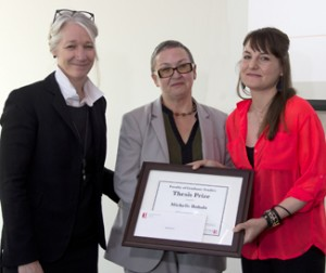 Dean Barbara Crow, Prof. Linda Peake and Michelle Bobala, with Michelle's Thesis Award