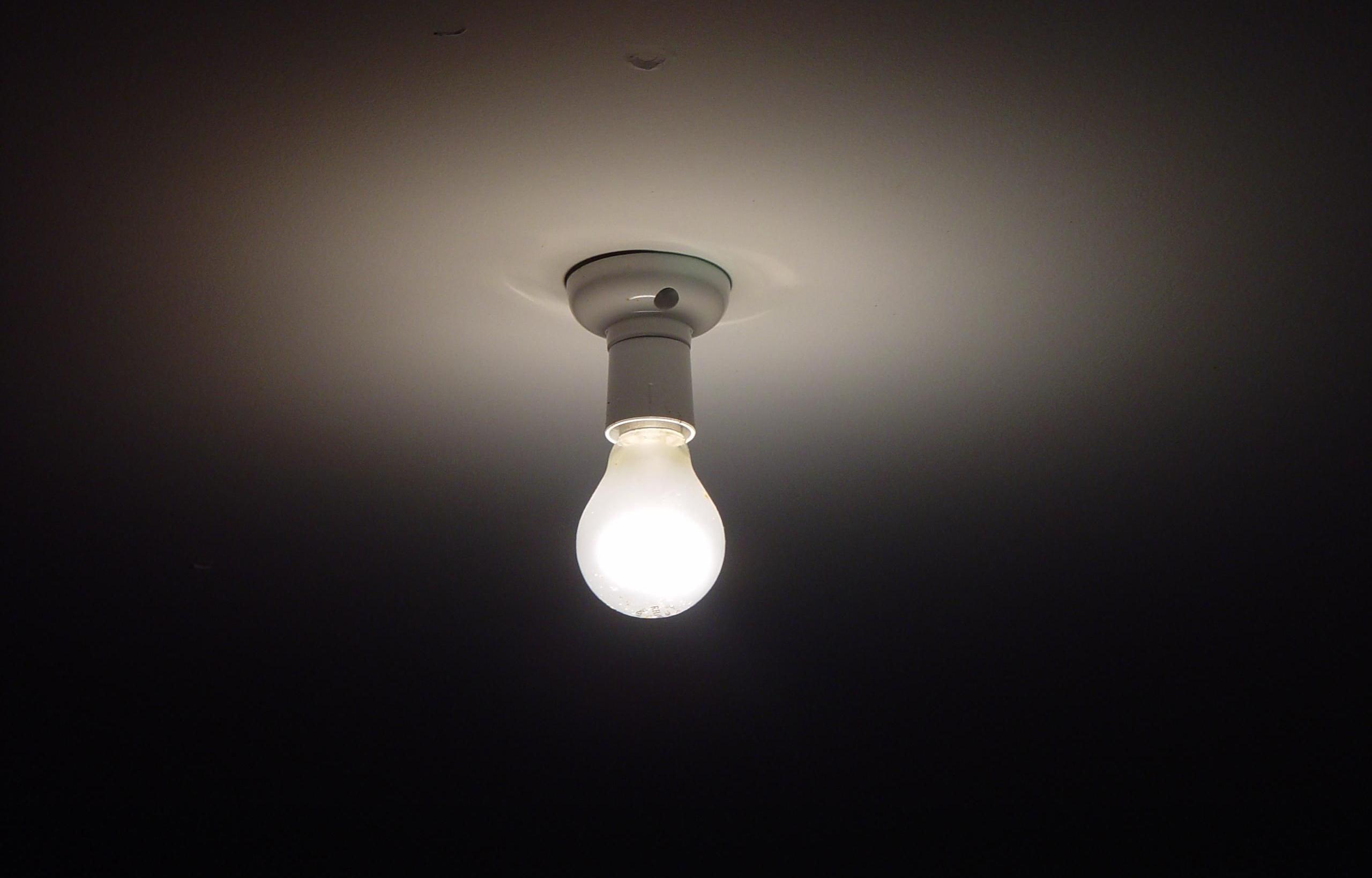 Lightbulb on the ceiling