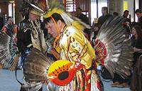 Pow Wow dancer in a aboriginal costume