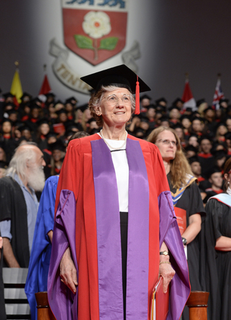 Honorary doctorate recipient Rita Colwell standing on stage