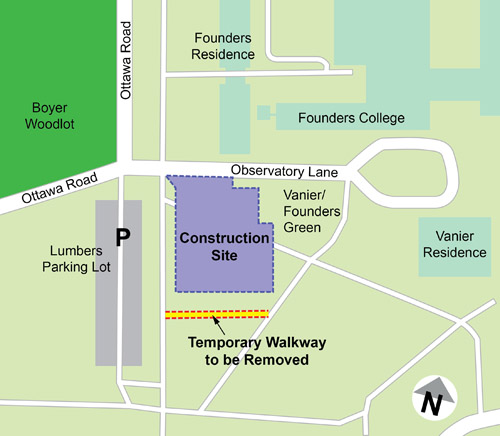 Map showing restoration of cross passage area in Vanier/Founders Green June 16 to July 18