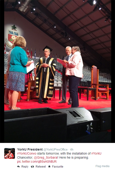 Snapped in action in this Twitter picture taken June 12 are York University's chancellor-designate Gregory Sorbara with staff from Convocations and Ceremonials and York President and Vice-Chancellor Mamdouh Shoukri.