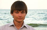 Volodymyr Nedoshytko by the water