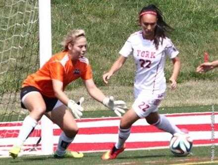 York Lions womens soccer in game action against Algoma Thunderbirds