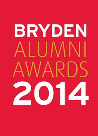 A red background with white and gold text that reads Bryden Alumni Awards 2014