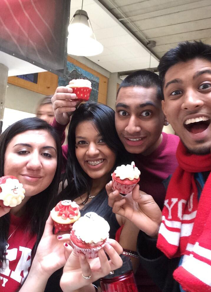 students with cupcakes