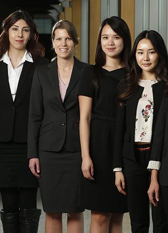From left, Negar Golchin Khiabani, Sonja Hiemisch, Joyce Chan and Jin Hui Yan