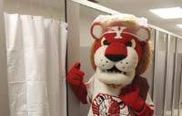 the mascot in the showers at Tait