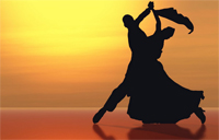 latin dancers in shadow