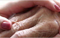 A young hand holding an older hand