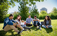 Students relaxing together