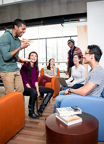 Students having fun in the Winters College lounge
