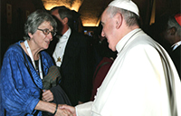 CERLAC Research Fellow Judith Marshall is greated by Pope Francis at the Vatican