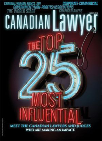 Lawyers coming from York University's Osgoode Hall Law School make up more than a quarter of the Top 25 Most Influential listed in Canadian Lawyer magazine