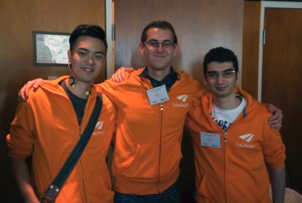 Three members f the UniSwipe team. From left, Will Lau, Anton Sitkovets and Vahe Khachikyan of UniSwipe