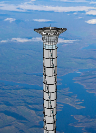 A concept illustration of the space elevator. Image: Thoth Technology
