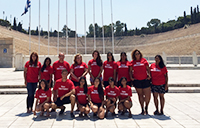 Sixteen York U students studied abroad in Greece this summer as part of a history course. Here, they are pictured at the 1896 Olympic Stadium in Athens