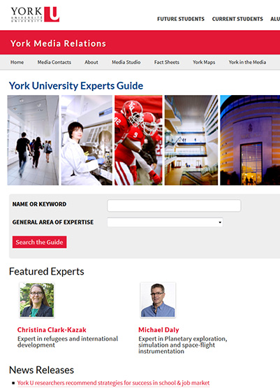 online image showing the Experts Guide webpage