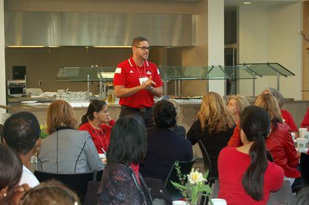Bart Zemenek speaks to alumni during the Homecoming breakfast