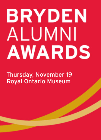 Logo for the 2015 Bryden Alumni Awards, highlights location at the ROM and date: Nov. 19
