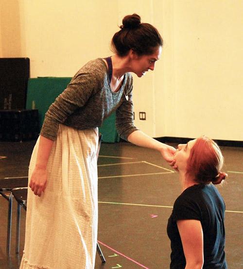 Terrah Nitkin (left) and Raechel Fisher in rehearsal for Cloud 9. Photo: Ashley Elliott