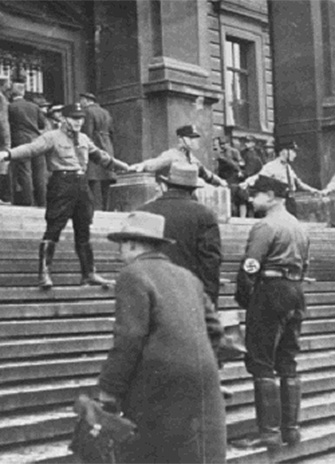 Nazis block Jews from entering the University of Vienna. Austria, 1938. — National Archives and Records Administration, College Park, Md.