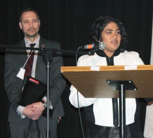 Renu Mandhane, chief commissioner, Ontario Human Rights Commission, and in the background Noël A. J. Badiou, executive director, Centre for Human Rights at York U