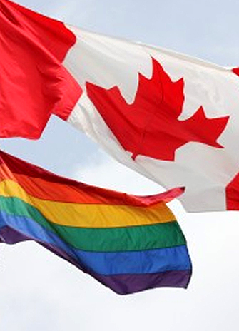 The Canadian Flag and Pride Flag at York University