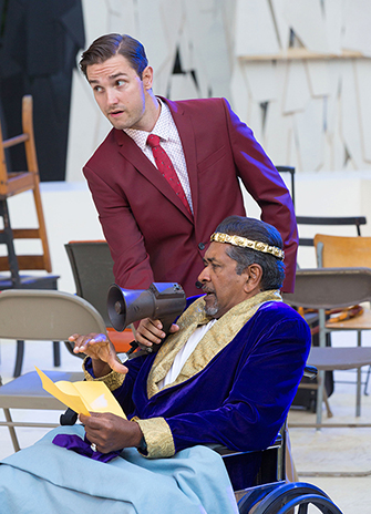 Theatre student Kyle McWatters (standing) is thrilled to perform the role of Dumain (2) in All's Well That Ends Well. Pictured with Marvin Ishmael as the King of France. Photo by Cylla von Tiedemann